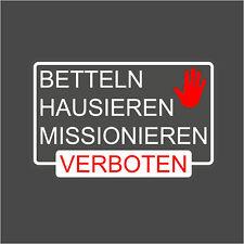 Betteln Hausieren Missionieren verboten Briefkasten rotweiss auf transp 10x6,4cm
