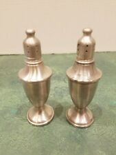 """""""WEB"""" Pewter Salt & Pepper Shakers Weighted 5.5"""" Tall 1.75"""" Base Lovely S & P!"""