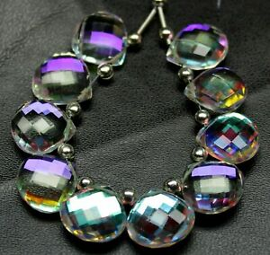 Fire Rainbow Moonstone Quartz Briolette Cut 14mm Heart Shape Bead Strand NN-1504