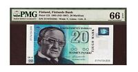 Finland 1993 1997 20 Markaa PMG Certified Banknote UNC 66 EPQ Gem Pick 123