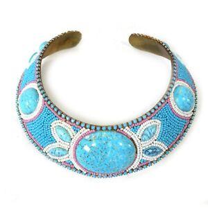 Vintage MJ HANSEN Designer Beaded Turquoise Stone Choker Collar Necklace