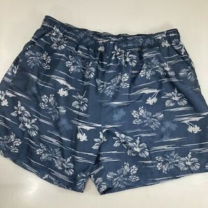 OP Ocean Pacific Mens 2XL 44-46 Lined Swim Trunks Blue Tropical Aloha