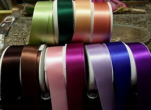 "Vintage Satin Double Sided 1"" Ribbon Rayon Blend 1yd Made in France"