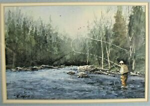 Bernard Vetter Fly Fishing Watercolor Painting ~ Listed Texas Artist ~Rich Color