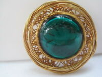 Vintage Gold-Tone Brooch with Green Glass Cab Stone