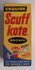 ESQUIRE SCUFF KOTE-1950's-BROWN SHOE POLISH FOR CHILDREN-COMPLETE BOX AND BOTTLE