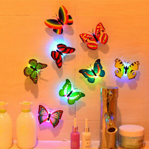 10-Pcs Wall Stickers Butterfly LED Lights Wall Stickers 3D House Decor Colorful