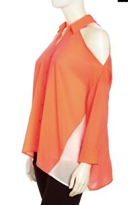 New tags Stella and Jamie Cold Shoulder Mixed Media Blouse Neon Coral Top Large