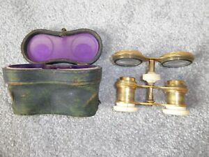 19th Century brass opera glasses in original leather case, incomplete needs tlc.