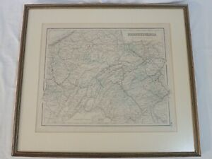 ANTIQUE 1855 J. H. COLTON NO. 22 PENNSYLVANIA COUNTY MAP FRAMED & MATTED