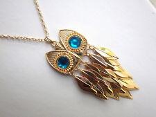 Eule Kette - Halskette Uhu Kauz Eulen goldfarben türkis beweglich Federn