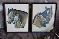 Pair of Vintage Horse Prints, Ole Larsen Framed Horse Pictures, Western Litho
