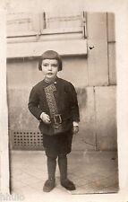 BJ164 Carte Photo vintage card RPPC Enfant mode fashion rue street hair