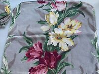 Vintage Mid Century Barkcloth Floral Upholstery Fabric Seat Pillow Cover Cut up
