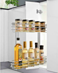 PULL OUT PANTRY DOUBLE WIRE BASKET KITCHEN ORGANISER STORAGE 200MM