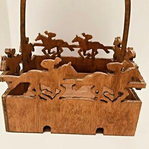 "Horse Racing Design Decorative Wood Basket 7"" Square, Horse With Jockey"