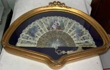 Antique Artist Signed Portrait Painted Mother Of Pearl Lace Hand Fan W/ Frame