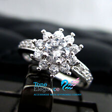 18k white gold GF solid engagement wedding ring made with swarovski crystal