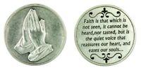 Praying Hands Pocket Token Silver Tone Devotional with Faith Prayer