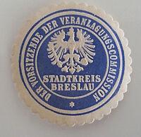 Siegelmarke Vignette Vorsitzende Veranlagungscommission Stadtkreis Breslau (7236