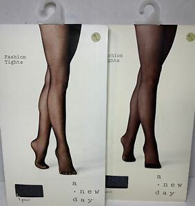 2 Pairs Women's Micro Texture Tights - A New Day™ Black Size L/XL