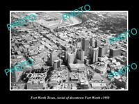 OLD LARGE HISTORIC PHOTO OF FORT WORTH TEXAS, AERIAL VIEW OF THE CITY c1950 1