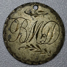 Love Token Engraved BMD 1876 Barber Head` Dime 10c silver