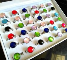 Wholesale 50pcs Unique Color Mix Women's Round Cat Eye Stainless Steel Cute Ring