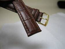 20 MM BROWN LEATHER BAND YELLOW GOLD SMALL LOGO BUCKLE FOR OMEGA WATCH