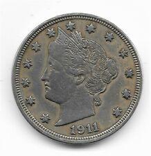 1911 Liberty Head V Nickel - 5 Cent Piece - Very fine condition - full rims