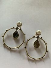 Fashion Charm Resin Pearl Gold Plated Big Earrings-E8220