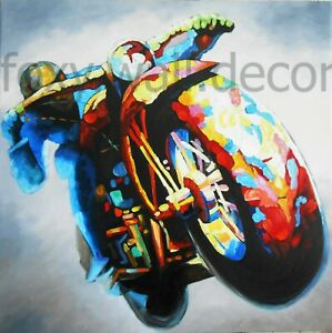 "VINTAGE MOTORBIKE retro cafe racer art print painting ON  CANVAS 39"" X 39"""