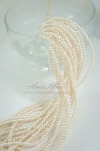 10 strands/1750pcs 3mm Cream Color/ABS Sewing Acrylic Loose Round Pearl Beads*