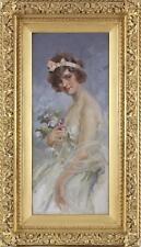 Maynard Brown Large Impressionist Fine Antique Oil Painting Portrait Lady Signed