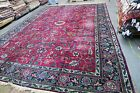 Antique Distressed Indo Lahore Agra Larestan Rug Hand Knotted Wool 11'0 x 15'9