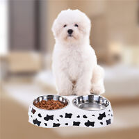 Large Double Pet Bowl Dog Cat Twin Dish Stainless Steel Water Food Feeder New