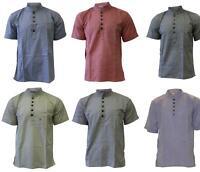 Mens Plain Cottton Grandad Shirt  Short Sleeve Hippie Summer Casual Light Top