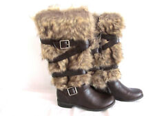 New Fergalicious Women's SHIVER  A2507M1200 Brown Faux Fur Boot Flat sz 6 $99