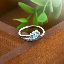 Heart Blue White GEMSTONE Fashion Jewelry Women Silver Ring Size 6 7 8 9 Fashion 8 #