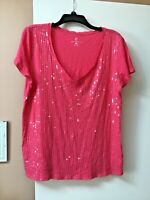 New York & Co Womens Sz XL Pink Top Shirt V-Neck Short Sleeve Sequins On Front