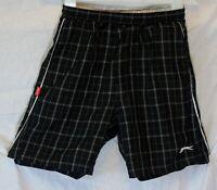 Boys Slazenger Black White Check Mesh Lined Swim Swimming Shorts Age 7-8 Years