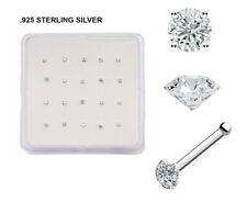 20 PC Box Sterling 925 Silver Prong Set Clear CZ Gem Nose Bone Stud Pin Ring 22G