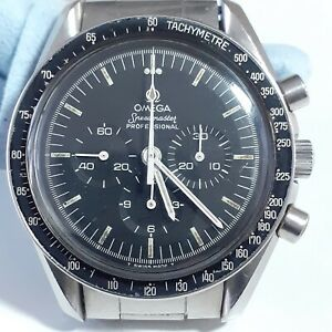 Vintage 1978 Omega Speedmaster Steel Manual Black Watch st145022 Caliber 861