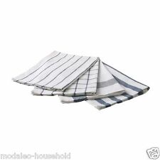 IKEA ELLY White and Blue Lined/Check Patterned Cotton Tea Towel Pack 4 UK-B786