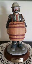 """Vintage Emmett Kelly Jr. Porcelain Clown Figurine """"Over A Barrel"""" Wooden Stand"""