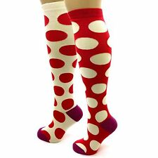 1 Pr BETSEY JOHNSON Knee High Socks, Ladies 9-11 Strawberry Jams Polka Pink