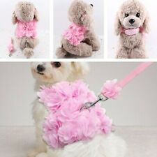 Pink Flower Dog Harness Breathable Puppy Lead Leash Adjustable Vest Harnesses