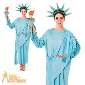 Statue of Liberty Costume Ladies Fancy Dress 4th July American Outfit New