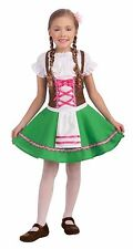 German Fraulein Child Costume Green / Brown / White Ethnic Festival Dress Lg