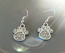 Diamanté clear crystal, paw print earrings